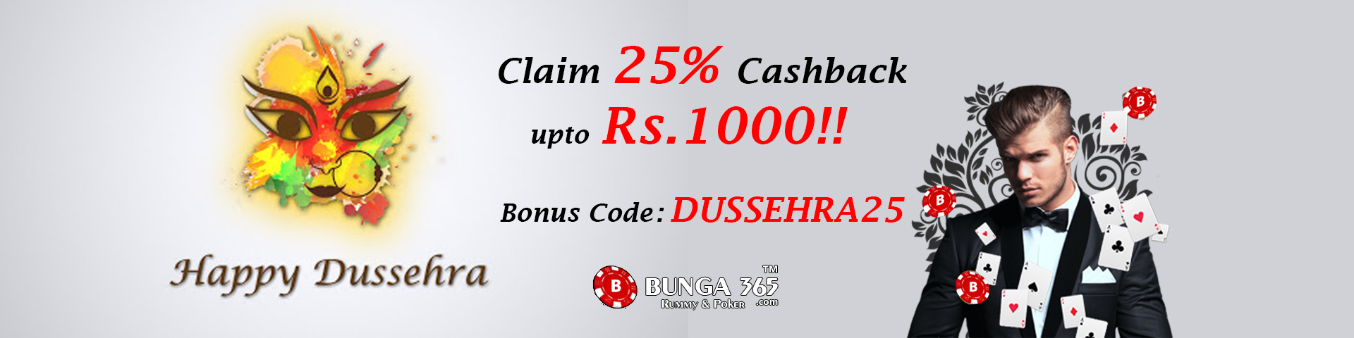 Poker & Rummy Dussehra Special Bonus – Bunga365