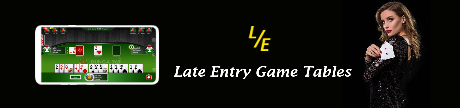 Late entry feature in pool rummy game