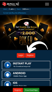 Visit Bunga365 Home Page and Click on Register Button to play Poker Cash Games