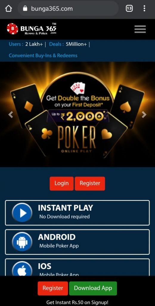 Bunga365 - Play Rummy & Play Poker Games-  Homepage