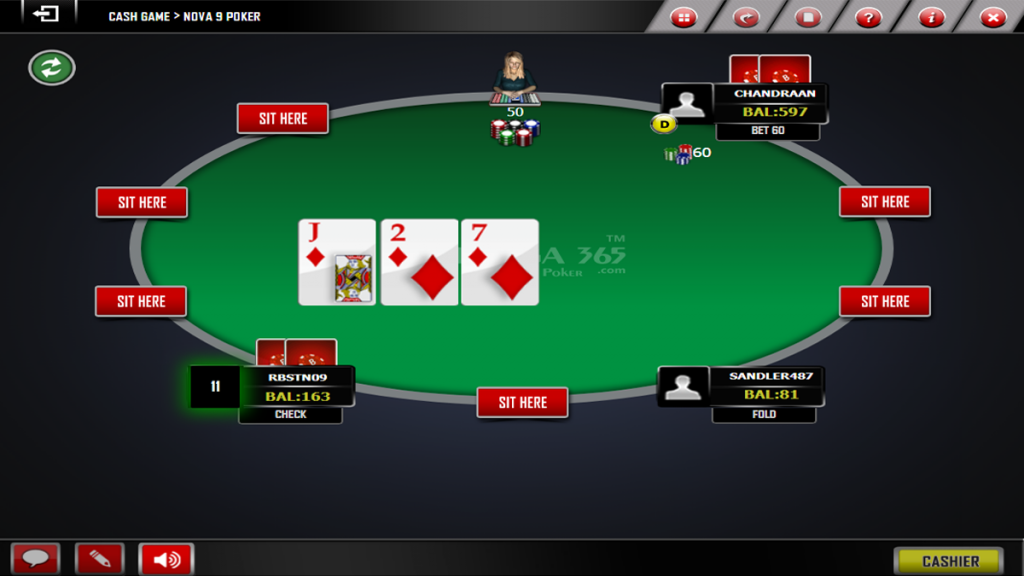 Post-flop action- Texas poker Online games